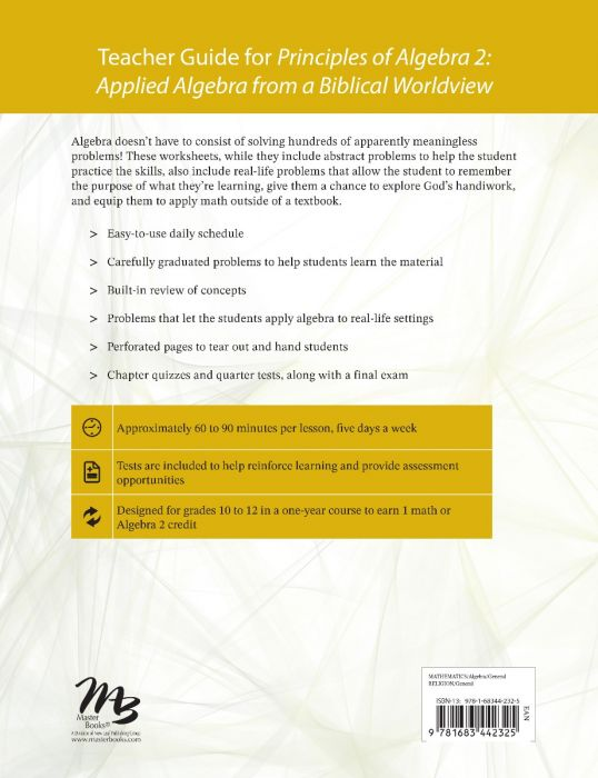 Principles of Algebra 2 Teacher Guide Back Cover