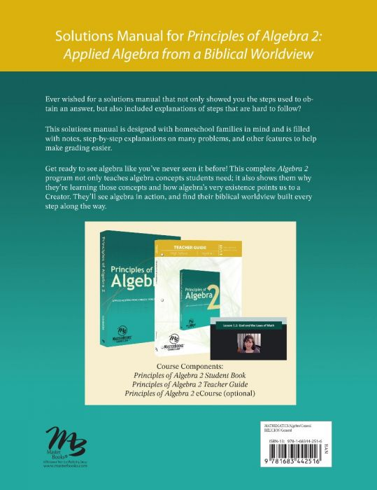 Principles of Algebra 2 Solutions Guide Back Cover